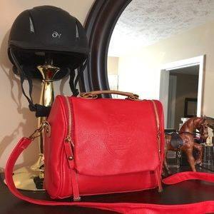 Red Top Handle British Boutique Crossbody Bag
