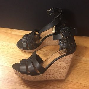 Dolce vita cork sandals size 7 black wedges