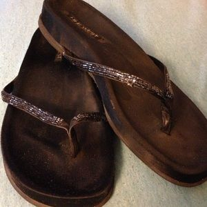 Fancy beaded flip flops