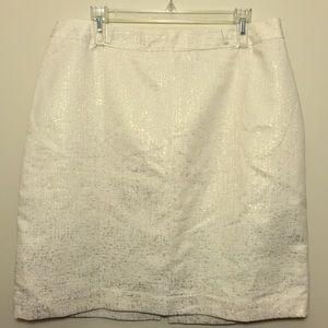 Worthington White Shimmering Gold Pencil Skirt