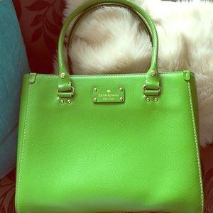 kate spade green wellesley leather handbag