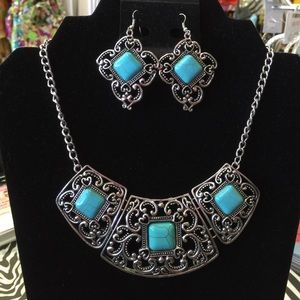 Jewelry - Vintage Style Tibetan Statement Necklace Earrings
