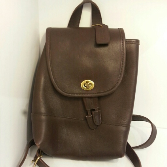 68% off Coach Handbags - Vintage Coach Brown Leather Backpack ...