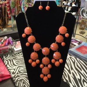Jewelry - Glorious Orange Statement Necklace Bib W/ Earrings