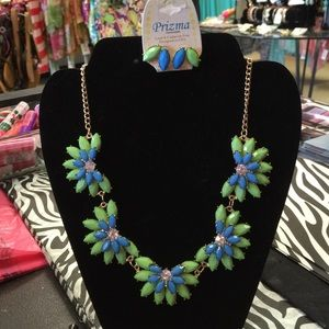 Prizma Jewelry - Lime and Turquoise Bib Statement Necklace Earrings