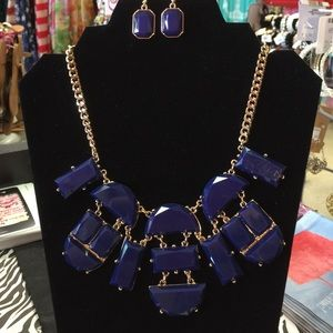 Mika Fabulous Jewelry - Navy Blue Statement Necklace Set W/ Earrings