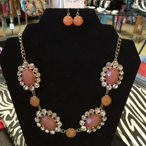 Fashion Beyond Jewelry - Fashion and Beyond Coral Pink Crystal Necklace Set