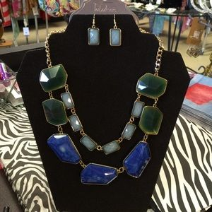 Mika Fabulous Jewelry - Fabulous Blue Green Mint Gold Tone Statement Set