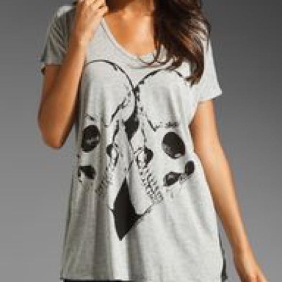 5357b7f60 Lauren Moshi Tops - Lauren Moshi April Skull Heart Oversized Tee