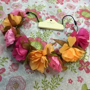 Ciel Accessories - Ciel Elastic Floral Rose Pink & Peach Headband