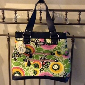 Spartina 449 Handbags - Floral leather and canvas tote bag.