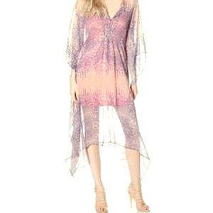 Caftan sheer dress lizard print