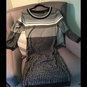Ivanka Trump Black/White Striped Dress
