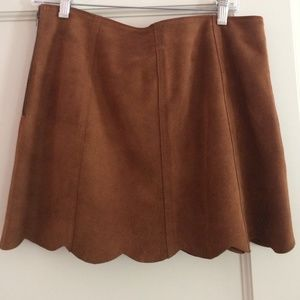Joie suede scalloped skirt in brown
