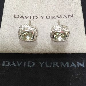 DAVID YURMAN Earrings-Diamonds & Prasiolite/Silver