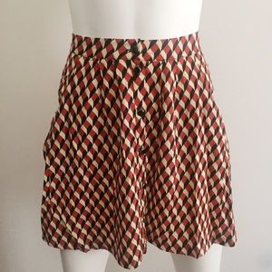Orange, Cream and Black Skirt with Front Buttons