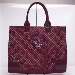 Tory Burch Quilted Nylon Large Burgundy Tote