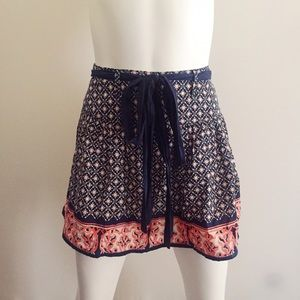 Dresses & Skirts - Navy Blue and Pink Floral Skirt with Belt