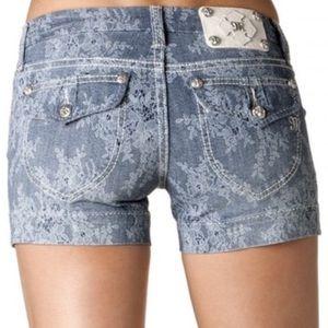 Miss Me Indigo Lace trouser style shorts NWT