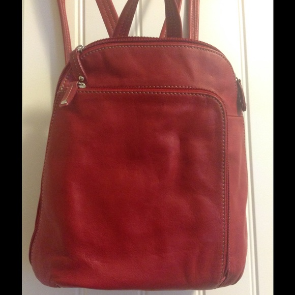 e0fe8d80a7 Red leather Tignanello backpack purse🌞. M 556cf1bc7fab3a30d5014b2b