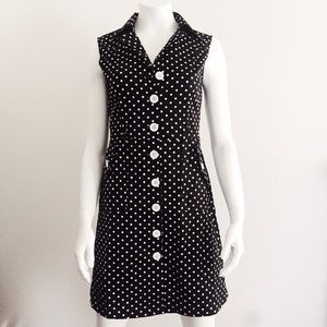 Black and White Polka Dot Sleeveless Collar Dress