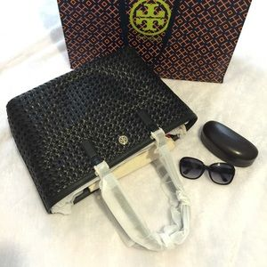 Tory Burch ROBINSON BASKET-WEAVE LARGE BLACK TOTE