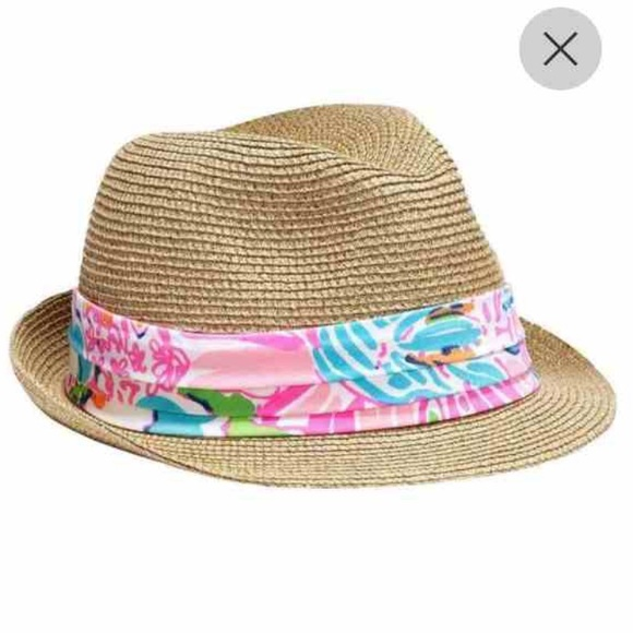 b3a8487608 Lilly Pulitzer Straw Fedora Hat
