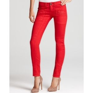 NWOT Free People Red Utility Jeans Size 25
