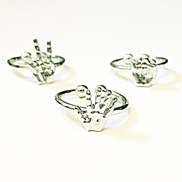 Starlet Fever Jewelry - 💍 Silver RPS Hands Midi Ring Trio ✊✌️✋
