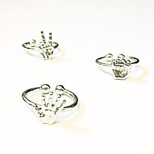 💍 Silver RPS Hands Midi Ring Trio ✊✌️✋