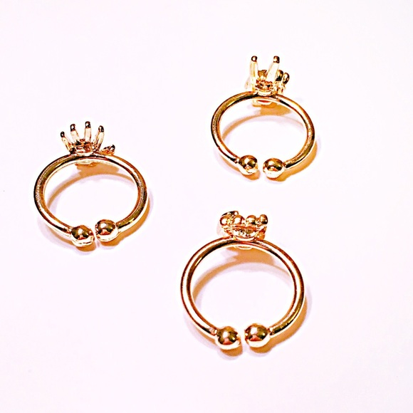 Starlet Fever Jewelry - 💍Gold RPS Hands Midi Ring Trio