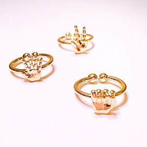 💍Gold RPS Hands Midi Ring Trio