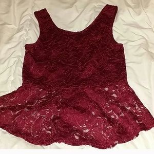 Maroon Lace Peplum Top w Back Bow M/L