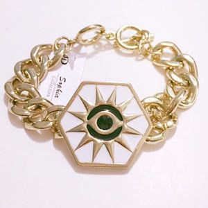White & Gold Sun Eye Chain Bracelet