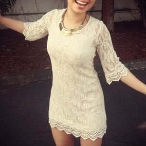 Beige lace summer dress