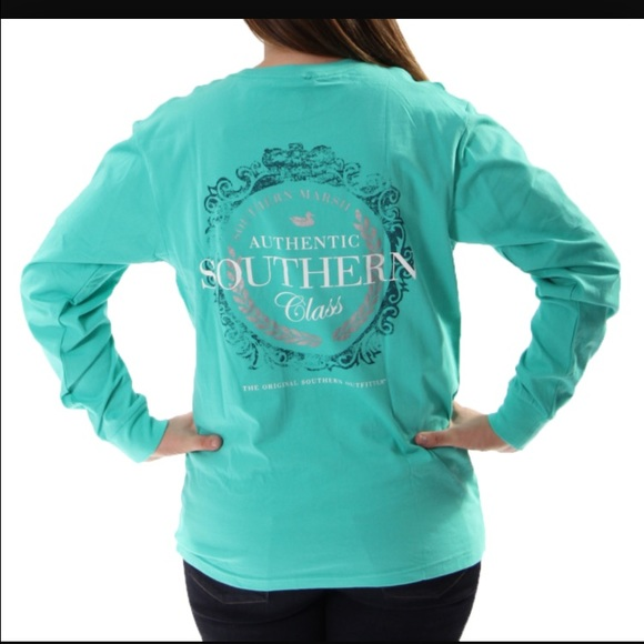 21 Off Tops Green Long Sleeve Southern Marsh Shirt From