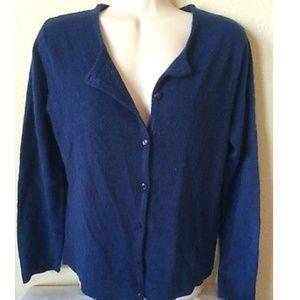 Lemon Grass Blue Long Sleeve Cardigan Sweater