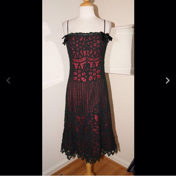 Betsey Johnson Dresses Black And Red Lacecrochet Dress Poshmark