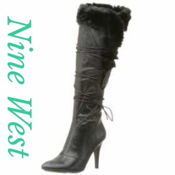 50 nine west boots nine west leather rabbit fur