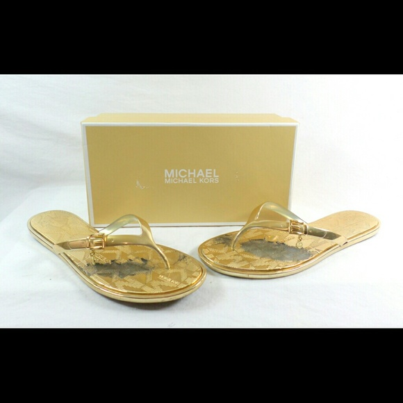 Michael Kors Emory Gold Pvc Flip Flops