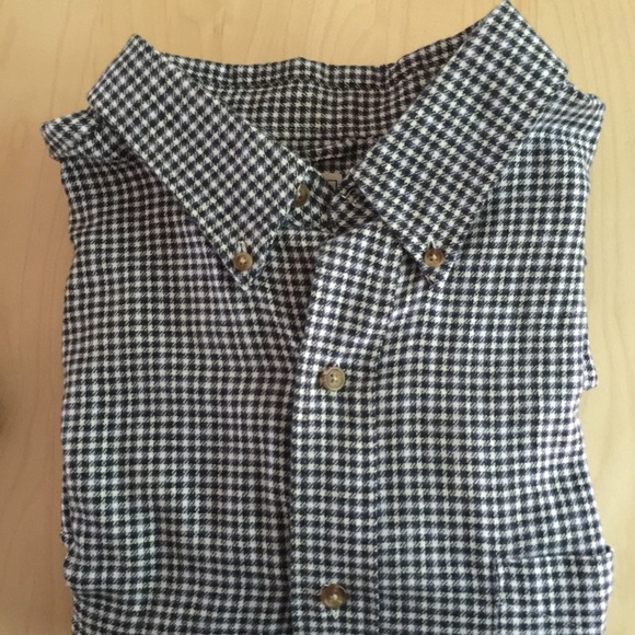 Chaps men 39 s navy blue chaps gingham flannel shirt from for Navy blue gingham shirt