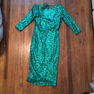 Green Asos Sequin Cowl Back Dress size 6