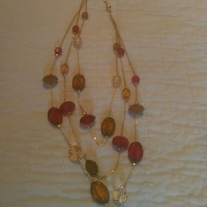 Jewelry - Rose,Brown colored triple strand necklace