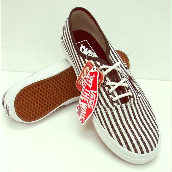 ca8f5982db20 VANS Authentic Slim Hickory Stripes White Black