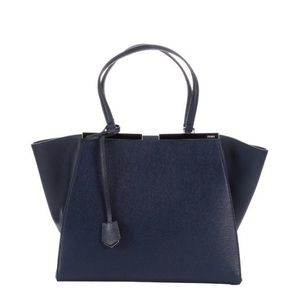 Fendi Navy Blue '3Jours' Leather Shopper Tote Bag