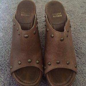 Stuart Weitzman Shoes - Stuart Weitzman Brown Leather & Wood Clogs