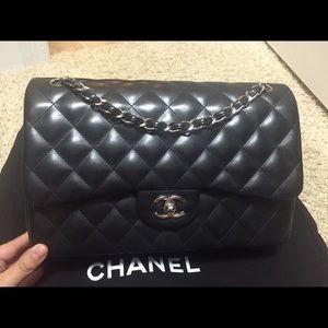 Chanel double flap black lamb skin SHW