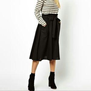 Black midi skirt with belt