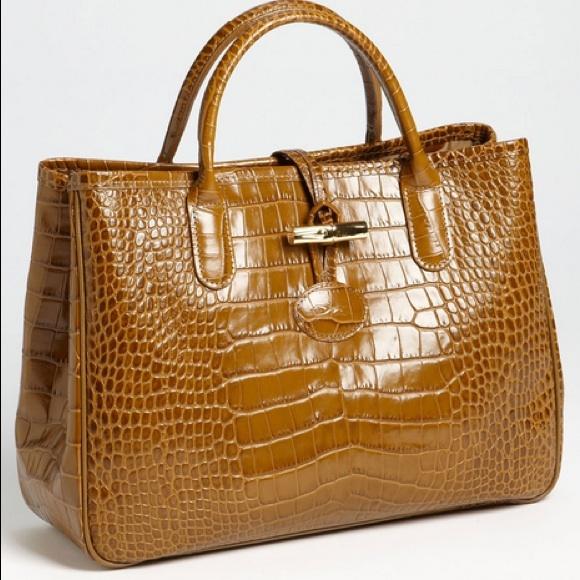 0fe99078f32 Longchamp Bags   Hp Crocembossed Roseau Tote   Poshmark