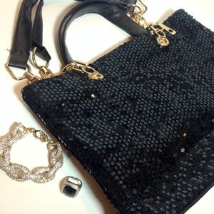 Boutique Handbags - NWT Sequin Gold Chain Satchel Handbag